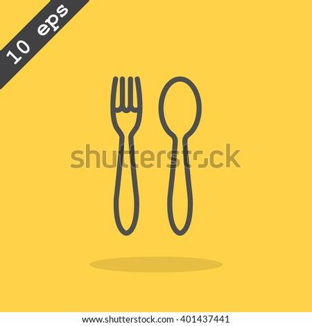 fork spoon icon - stock vector