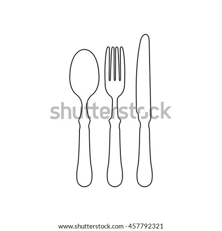 fork spoon knife  - black vector icon