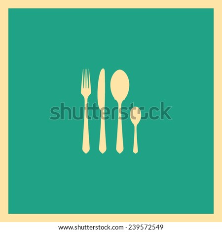 fork spoon knife icon - stock vector
