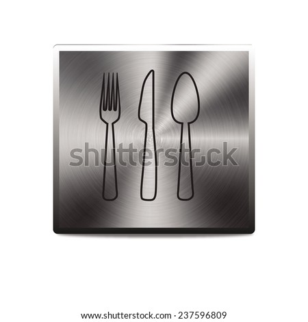 fork spoon knife icon - vector brushed metal button - stock vector