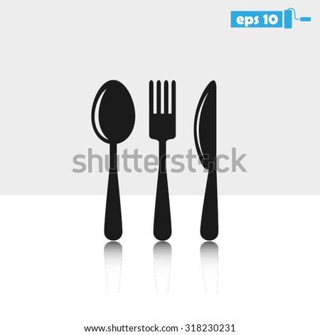 Fork Spoon Knife icon vector illustration eps10. - stock vector