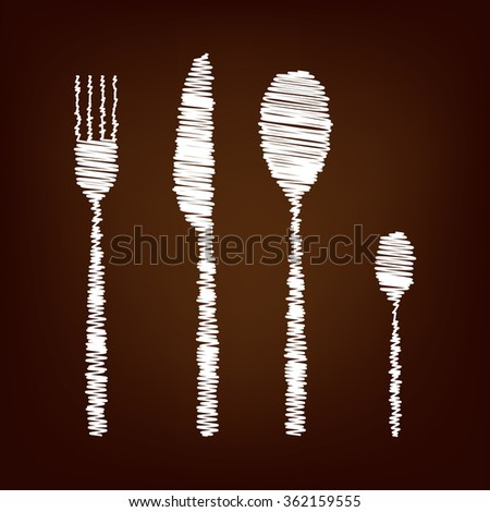 Fork spoon knife icon. Vector illustration with chalk effect