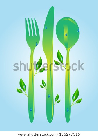 fork spoon knife icons and elements for organic