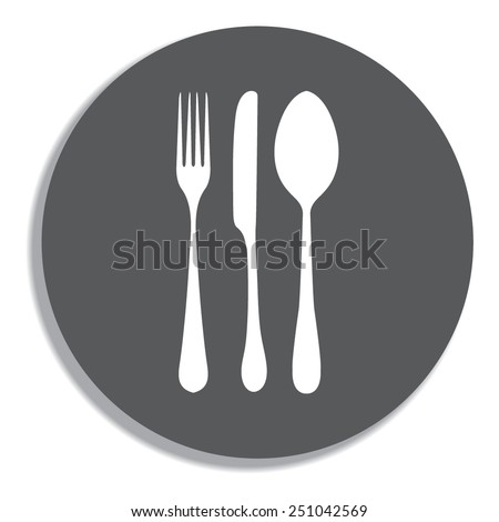 fork spoon knife on a grey background - stock vector