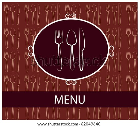 fork, spoon, knife. restaurant template menu design - stock vector