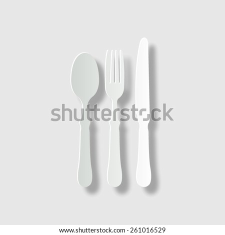 fork spoon knife  - vector icon with shadow - stock vector