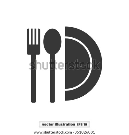 fork spoon plate - stock vector