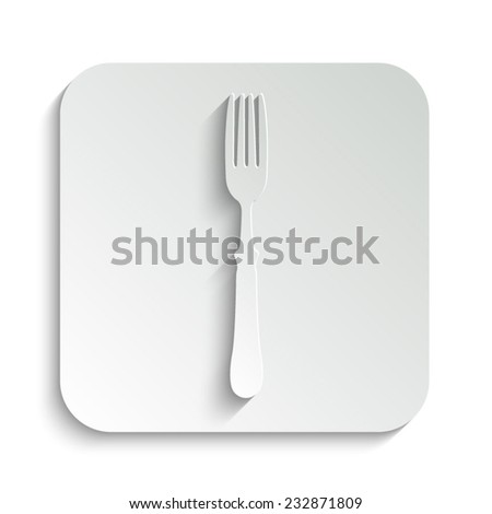 fork - vector icon with shadow on a grey button - stock vector