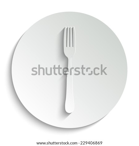 fork - vector icon with shadow on a round button - stock vector
