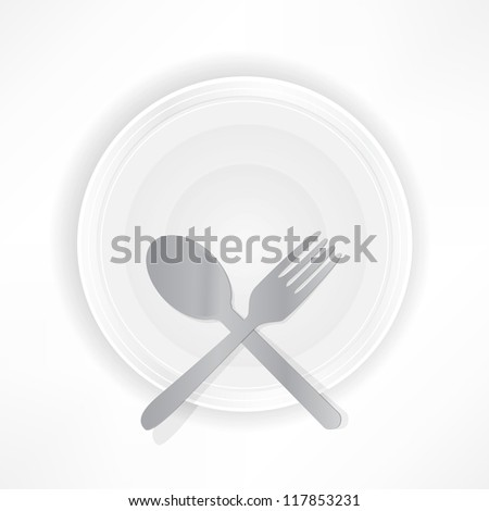 fork with a spoon on a plate, food concept. - stock vector