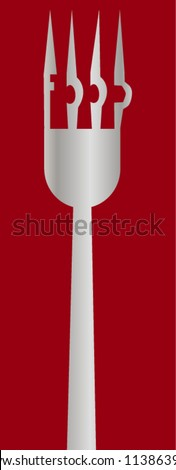 Fork with word food - stock vector