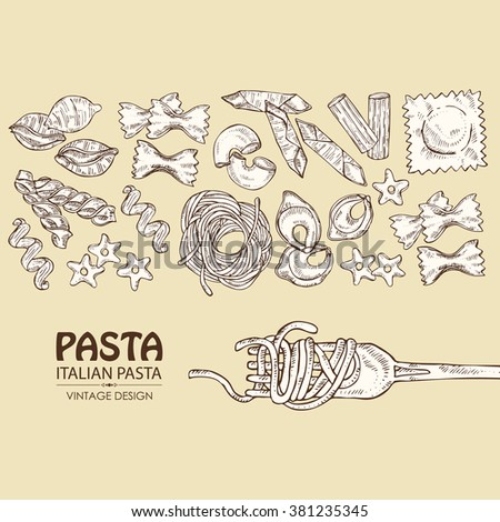 forkBackground with different types of pasta. hand drawn