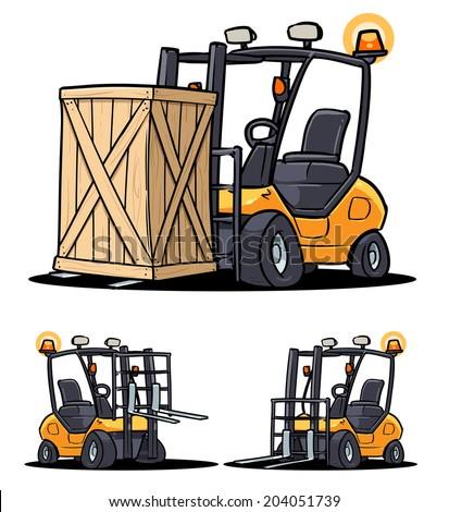 Forklift cartoon illustration - stock vector