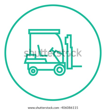 Forklift line icon. - stock vector