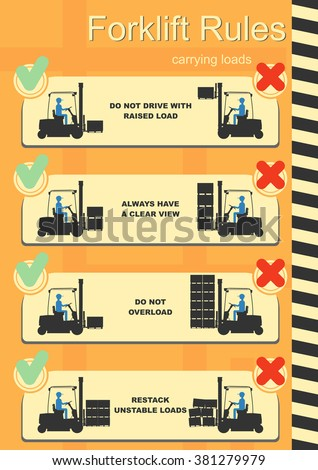 Forklift safety rules. Easy to edit vector infographics. - stock vector