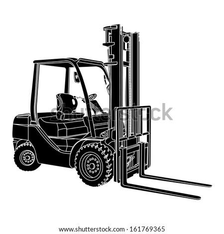 Forklift silhouette vector - stock vector