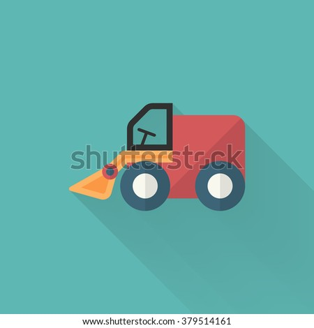 Forklift toy icon , Vector flat long shadow design. Children's toys concept.