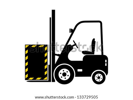 Forklift truck icon - stock vector