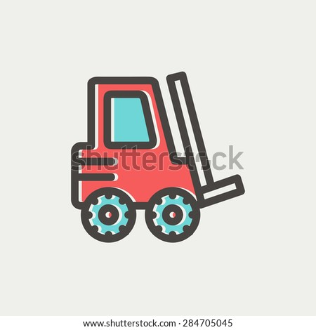 Forklift truck icon thin line for web and mobile, modern minimalistic flat design. Vector icon with dark grey outline and offset colour on light grey background. - stock vector