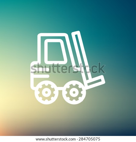 Forklift truck icon thin line for web and mobile, modern minimalistic flat design. Vector white icon on gradient mesh background. - stock vector