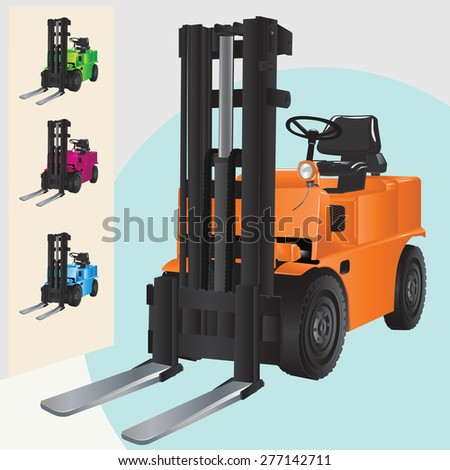 Forklift truck illustration isolated. - stock vector