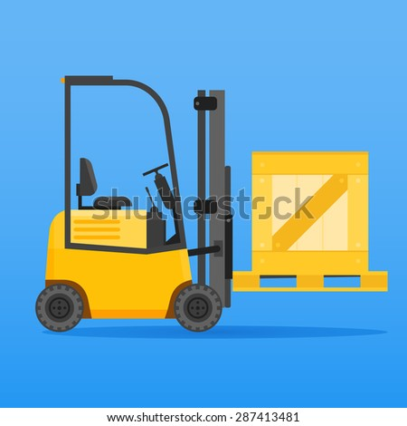 Forklift truck with wooden crate on blue background - stock vector