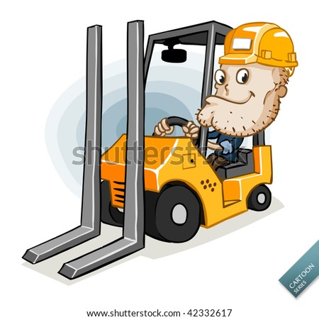 Forklift with the Driver - stock vector