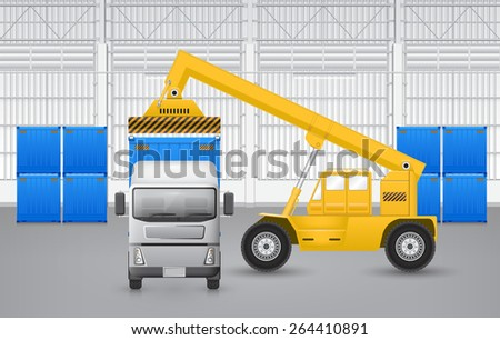 Forklift working with cargo container and truck with factory background. - stock vector