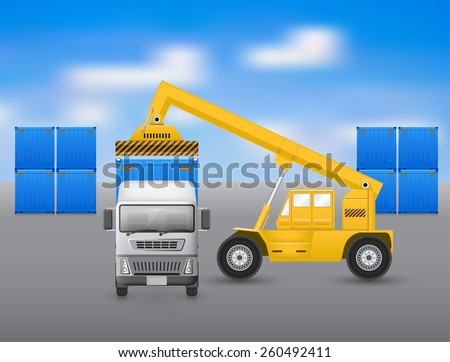 Forklift working with truck, blue sky background. - stock vector