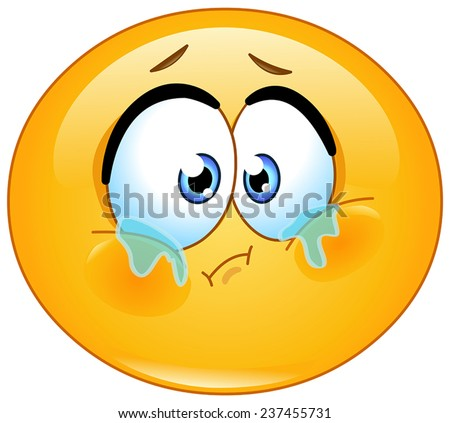 Forlorn teary eyed emoticon - stock vector