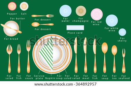 Etiquette of a business dinner. Formal Dinner Place Setting. Etiquette Proper  sc 1 st  Shutterstock : table setting ettiquette - pezcame.com