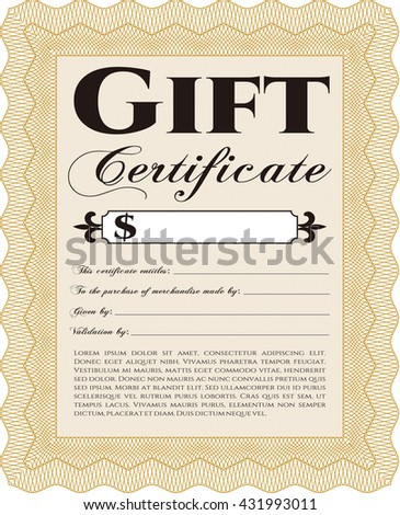 Formal Gift Certificate. Complex background. Customizable, Easy to edit and change colors. Lovely design.  - stock vector
