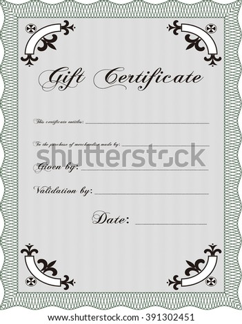 Formal Gift Certificate template. Elegant design. With guilloche pattern and background. Vector illustration.  - stock vector