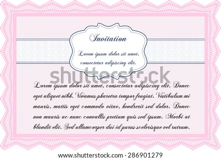 Formal invitation template. Easy to print. Excellent complex design. Border, frame. - stock vector