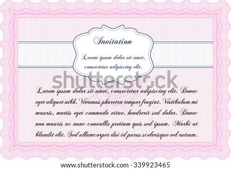 Formal invitation template. Vector illustration.Superior design. Printer friendly.  - stock vector