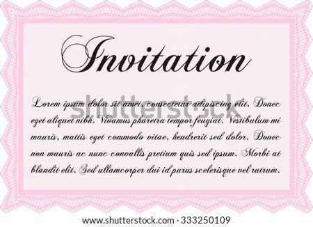 Formal invitation template. Vector illustration.With guilloche pattern. Cordial design.  - stock vector