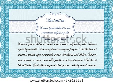 Formal invitation template. With guilloche pattern and background. Customizable, Easy to edit and change colors.Artistry design.