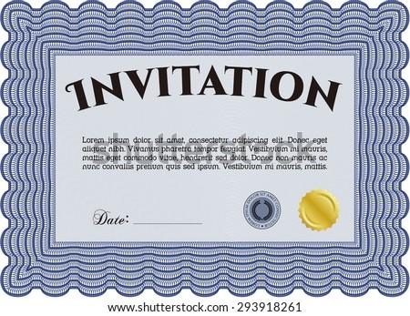 Formal invitation. With background. Border, frame.Nice design.  - stock vector