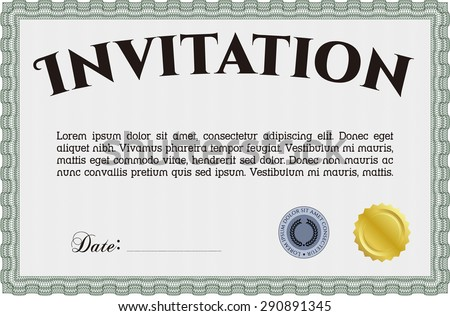 Formal invitation. With guilloche pattern. Detailed.Excellent complex design.  - stock vector