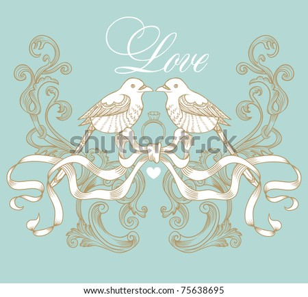 formal little wedding card made from heaven - stock vector