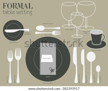 FORMAL TABLE SETTING Formal dining table setting with full equipped utensil are decorated in modern style & FORMAL TABLE SETTING Formal Dining Table Stock Vector 282393917 ...