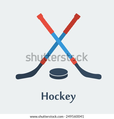 Format eps 10. Two hockey sticks and puck - stock vector