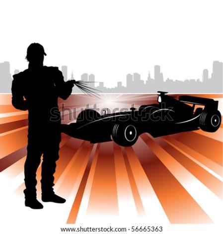 formula and race car - stock vector