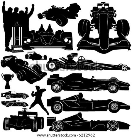 formula and race car vector - stock vector