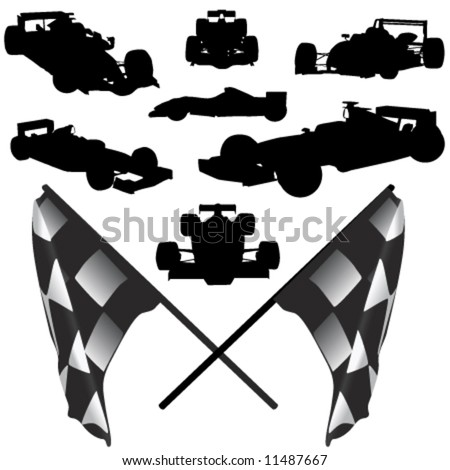 formula car and flag vector - stock vector