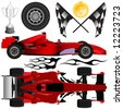 formula car and objects vector - stock vector