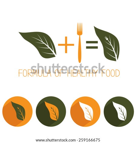 formula of healthy food with leaf and fork - stock vector