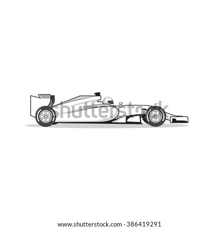 Formula one race car isolated on white background. Vector illustration - stock vector