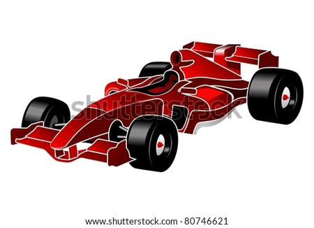 Formula one red car F_1 - stock vector