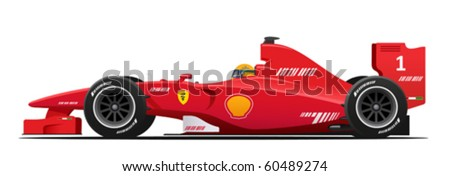 Formula 1 race red detailed car - stock vector